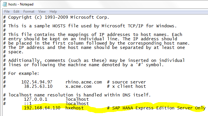 SAP HANA Express virtual machine IP address in hosts file