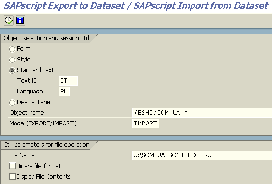 import standard text in SAP using RSTXSCRP ABAP report