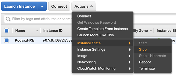 stop SAP HANA Express EC2 instance on AWS Management Console