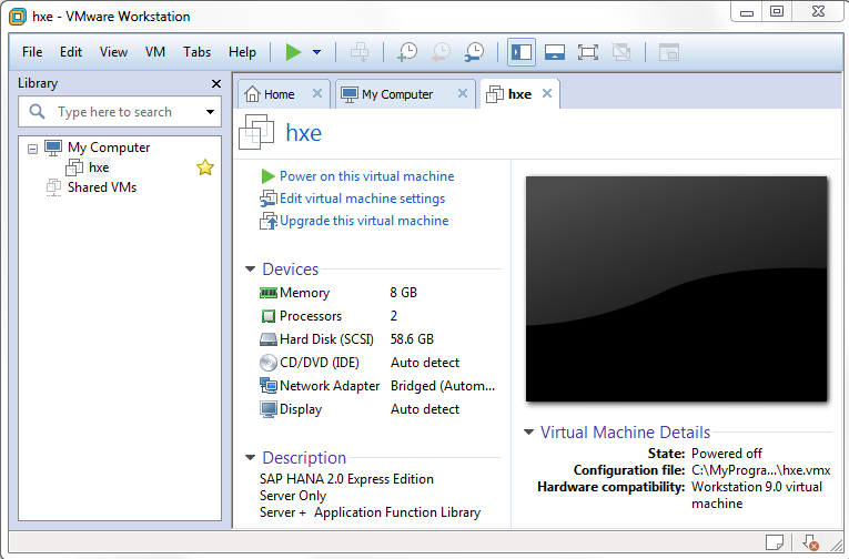 start SAP HANA 2.0 Express virtual machine
