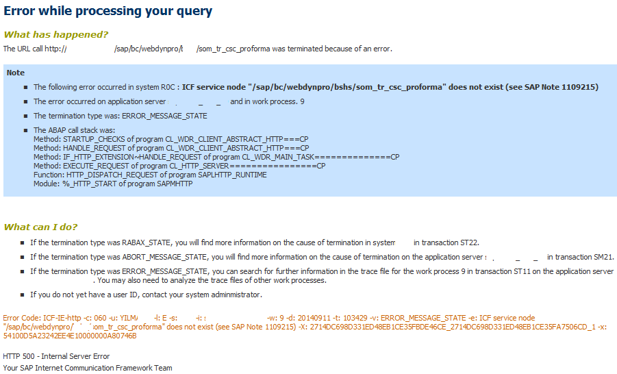 ICF service node does not exist (see SAP Note 1109215)