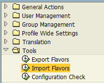 import flavors using SAP Personas administration transaction