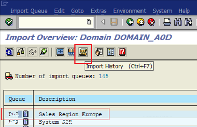 import history on SAP transport management system