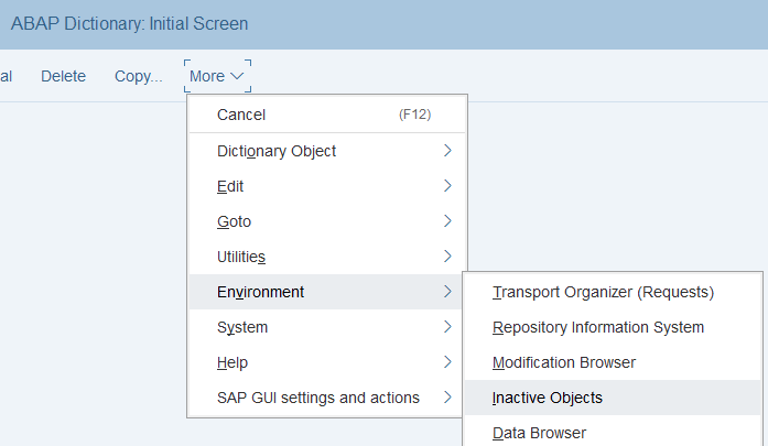 SE11 ABAP Dictionary screen menu for Inactive Objects
