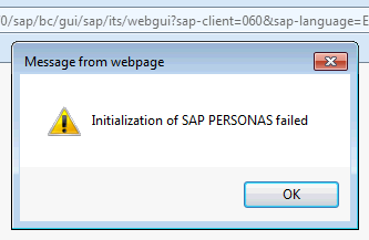 Initialization of SAP Personas failed