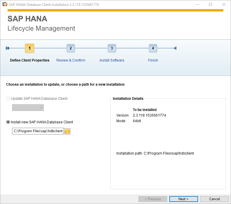 SAP HANA Database Client installation