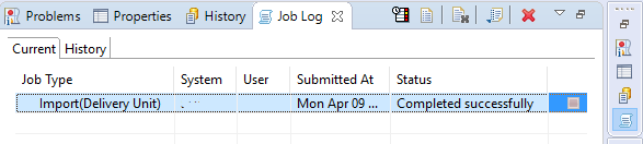 Job Log for Import Graph Viewer Delivery Unit