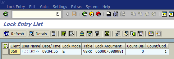 list of lock entries in SAP system