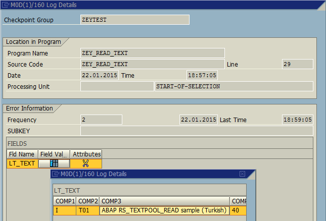 log details fetched using Log-Point in ABAP coding