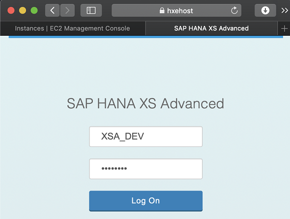 logon to SAP HANA Express Web IDE
