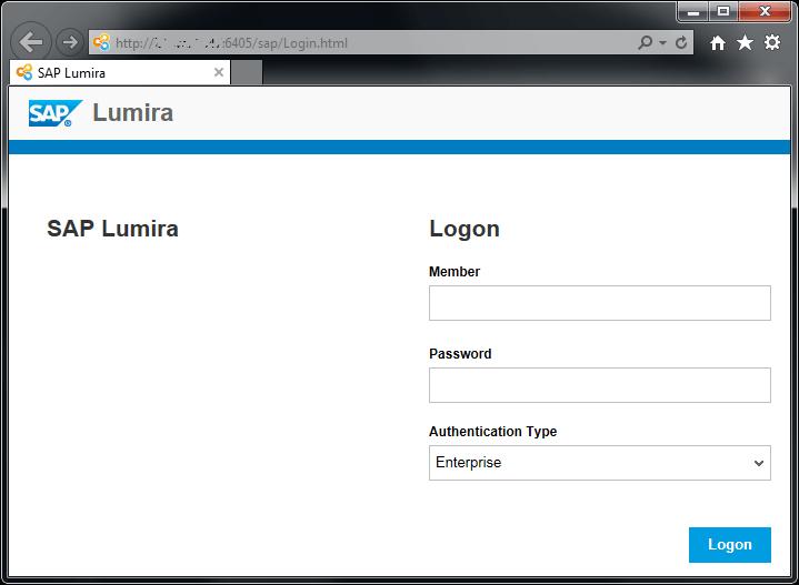 logon to SAP Lumira Server