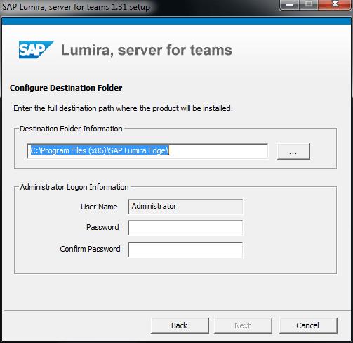 SAP Lumira installation folder and Administrator password