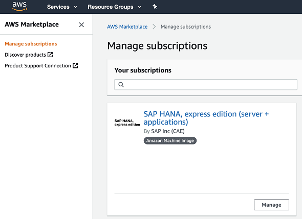 manage subscription for SAP HANA Express edition