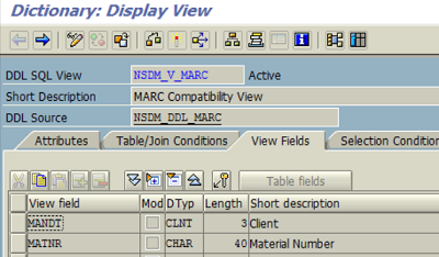 SAP CDS View of MARC database table proxy object