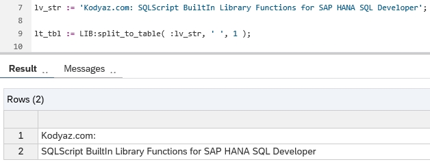 SQLScript BuiltIn Library Functions in SAP HANA SQL