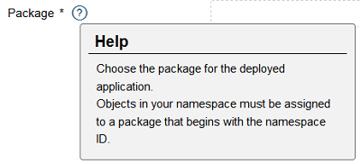 choose package for the deployed application