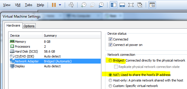 Virtual machine network adapter settings for IP4 address of SAP HANA database