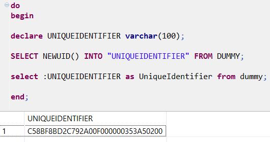 generate unique identifiers using SQL NEWUID function