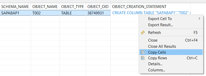 copy CREATE TABLE SQL statement for SAP HANA database table