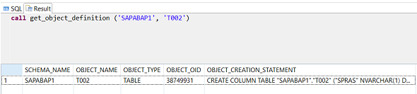 get_object_definition procedure output for SAP HANA database table