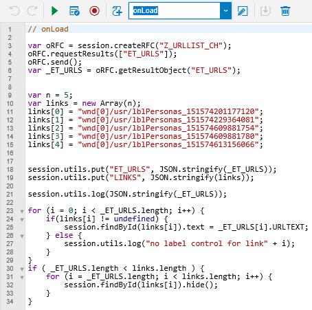 SAP Screen Personas flavor onLoad script Javascript codes