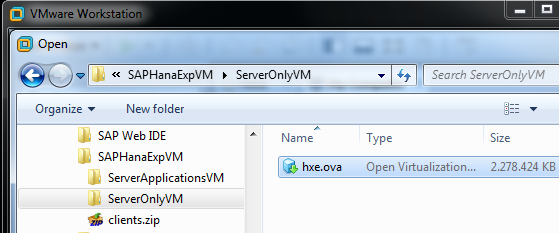 open SAP HANA Express Edition virtual disk using VMware