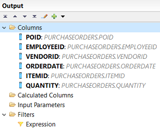 calculation view output columns