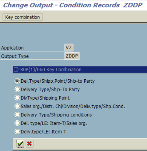 SAP output condition records key combinations in access sequences