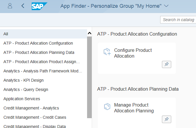 personalize Fiori Launchpad tile group using App Finder