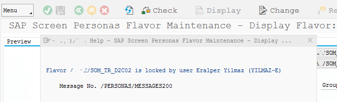 SAP Screen Personas flavor maintenance transaction to detect locked status
