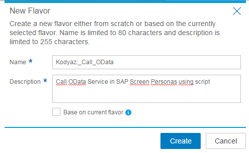 create new SAP Personas flavor for consuming Odata service