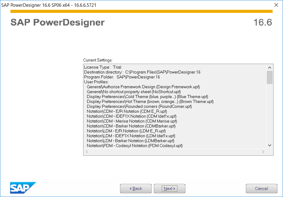 PowerDesigner installation summary