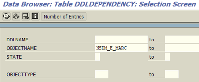 query DDLDependency SAP table for proxy object of MARC ABAP table