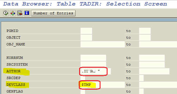 list local objects in TADIR ABAP table for specific SAP user