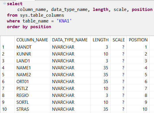 read column list of a table on SAP HANA database
