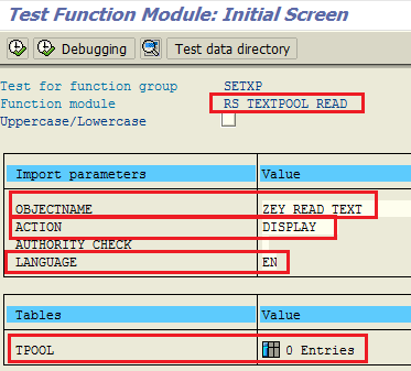ABAP function module RS_TEXTPOOL_READ for reading text symbols