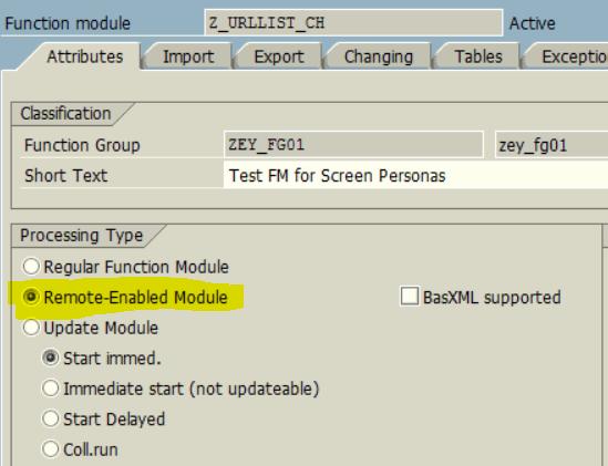 create remote-enabled RFC function module