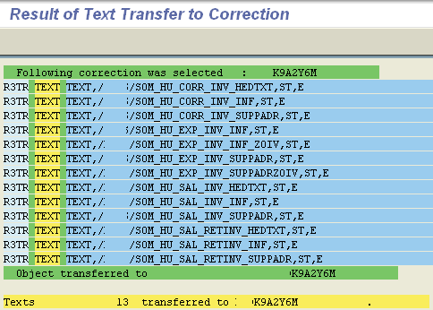 transfer SAP standard text to transport request