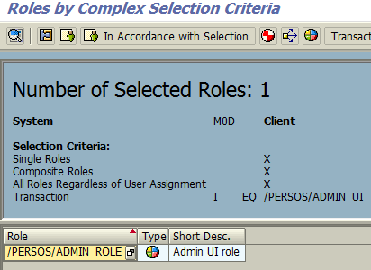 SAP roles list by SUIM complex selection criteria