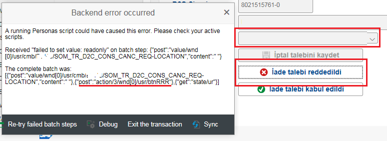 A running Personas script could have caused this error. Please check your active scripts.
