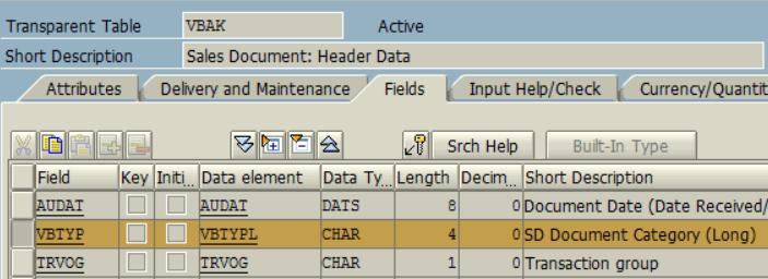 VBTYPL for VBAK Sales Document Header table document category field