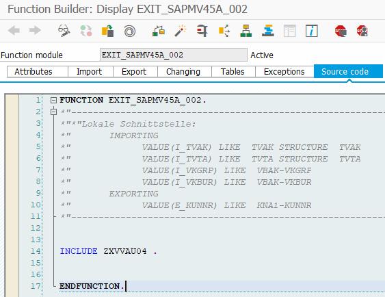 ABAP function exit for SAP CMOD Enhancement project