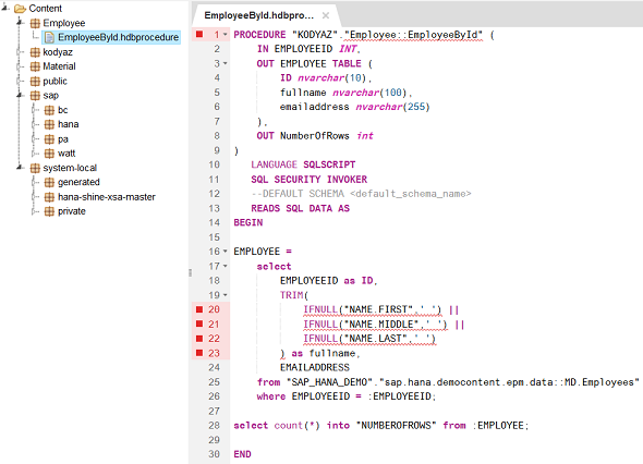 SAP HANA database procedure hdbprocedure code