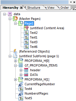 SAP Adobe Form Hierarchy window for master page