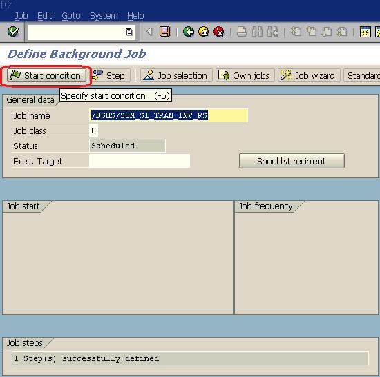 SAP job definition screen Start Condition button