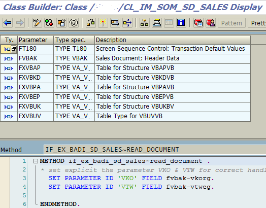 ABAP class method codes of SAP BAdI implementation