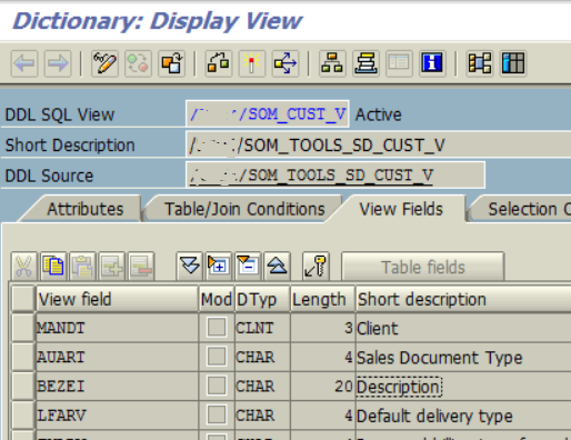 SAP CDS View and DDL Source name in ABAP Dictionary transaction screen