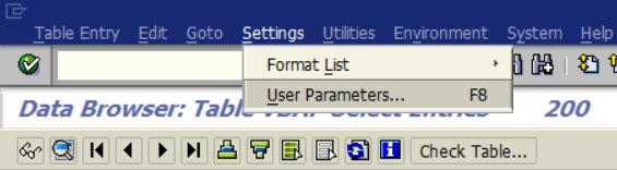 SAP User Parameters menu