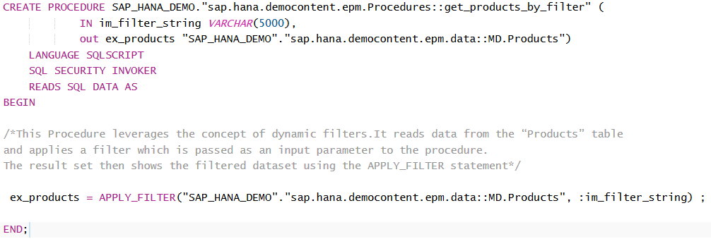 Apply_Filter SQLScript command with sample SAP HANA database stored procedure