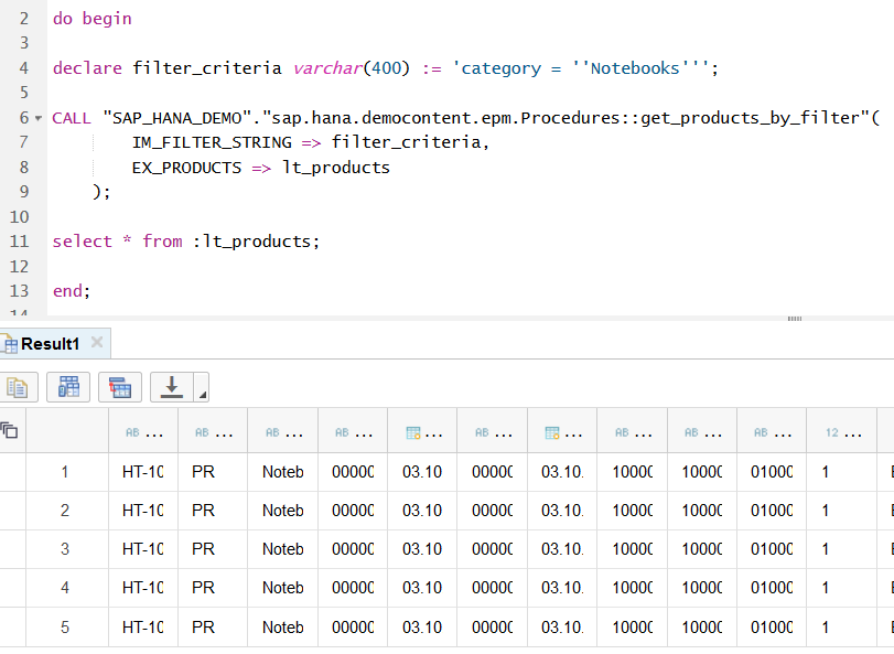 call stored procedure in SAP HANA database using dynamic query